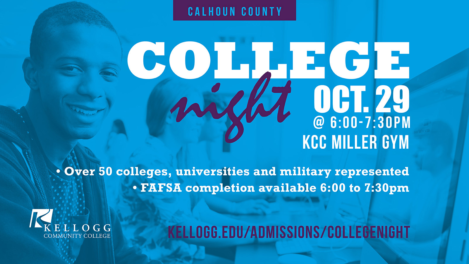 A decorative text slide promoting KCC's 2019 Calhoun County College Night.