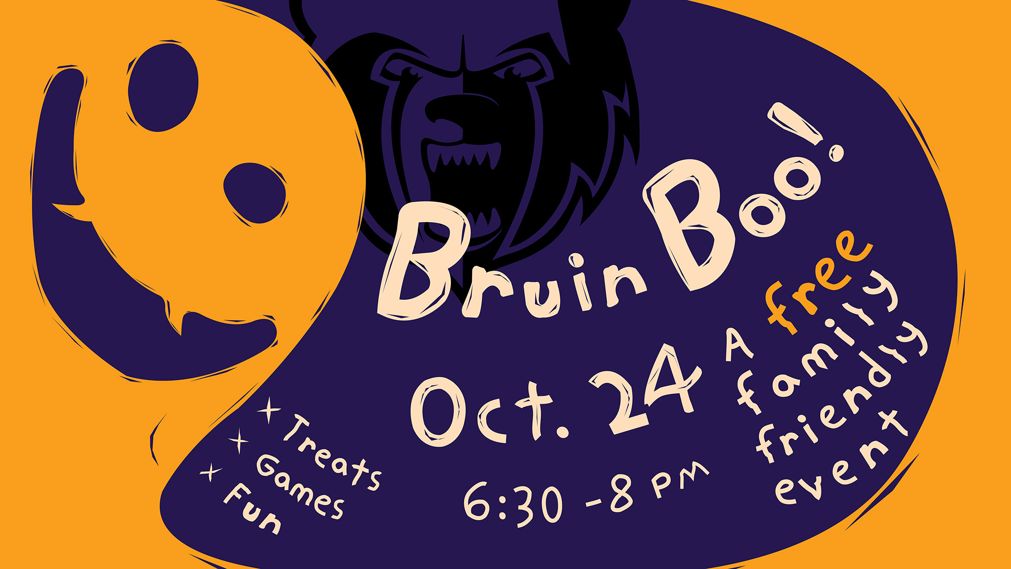 A decorative text slide featuring an orange ghost on a purple background and information about KCC's Oct. 24 Bruin Boo event.