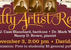 A text slide promoting KCC's Faculty Artist Recital scheduled for 3 p.m. Nov. 3, at the Davidson Center auditorium.