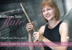Dr. Kathryne Salo holds a flute in a promotional slide for her upcoming recital at KCC.