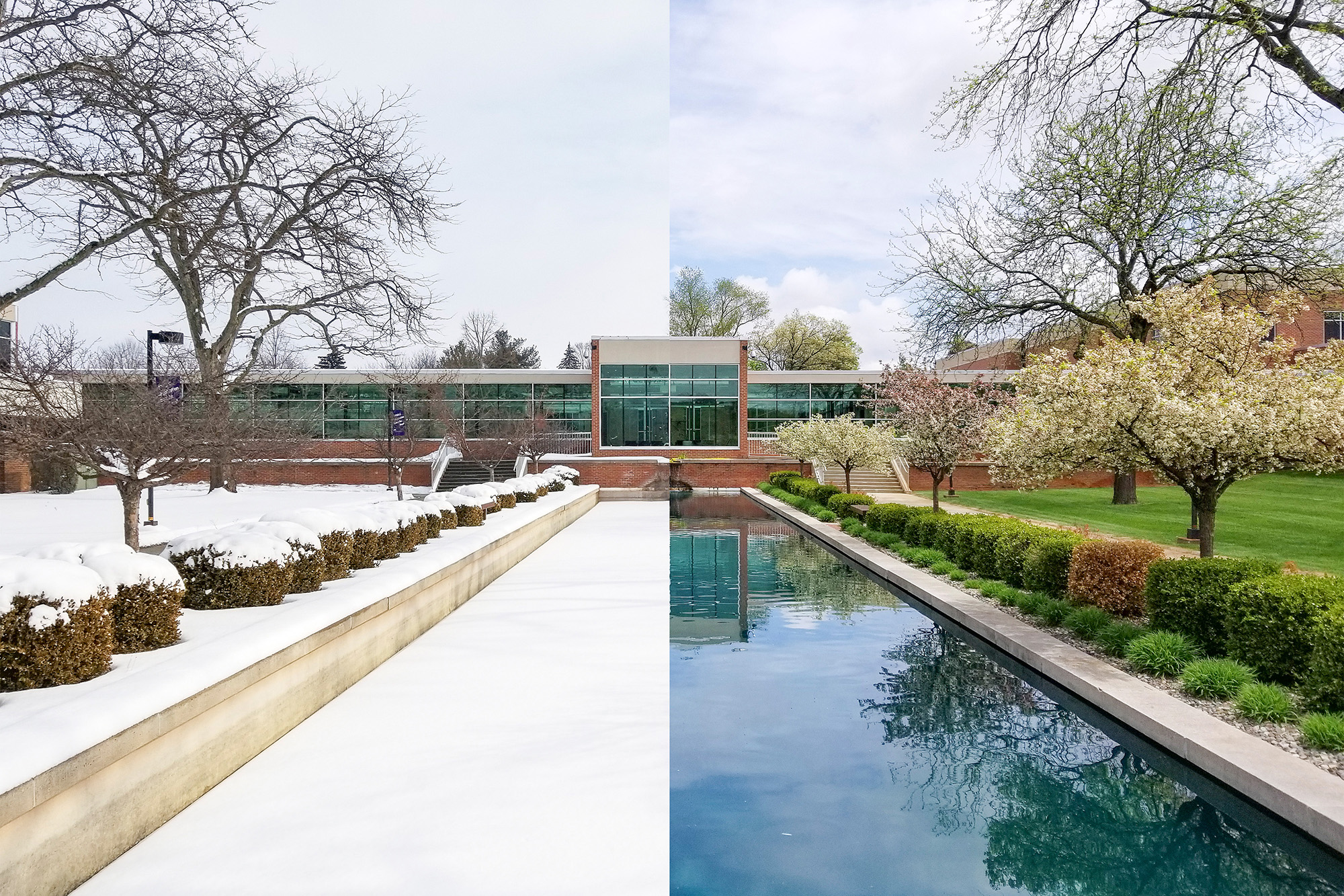 An external view of the entrance to KCC's North Avenue campus looking over the reflecting pools; half snow-covered in winter and half green and sunny in spring.