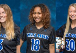 KCC women's soccer players Rachel Bammer, Arianna Cardenas-Jones and Baylee Willis.