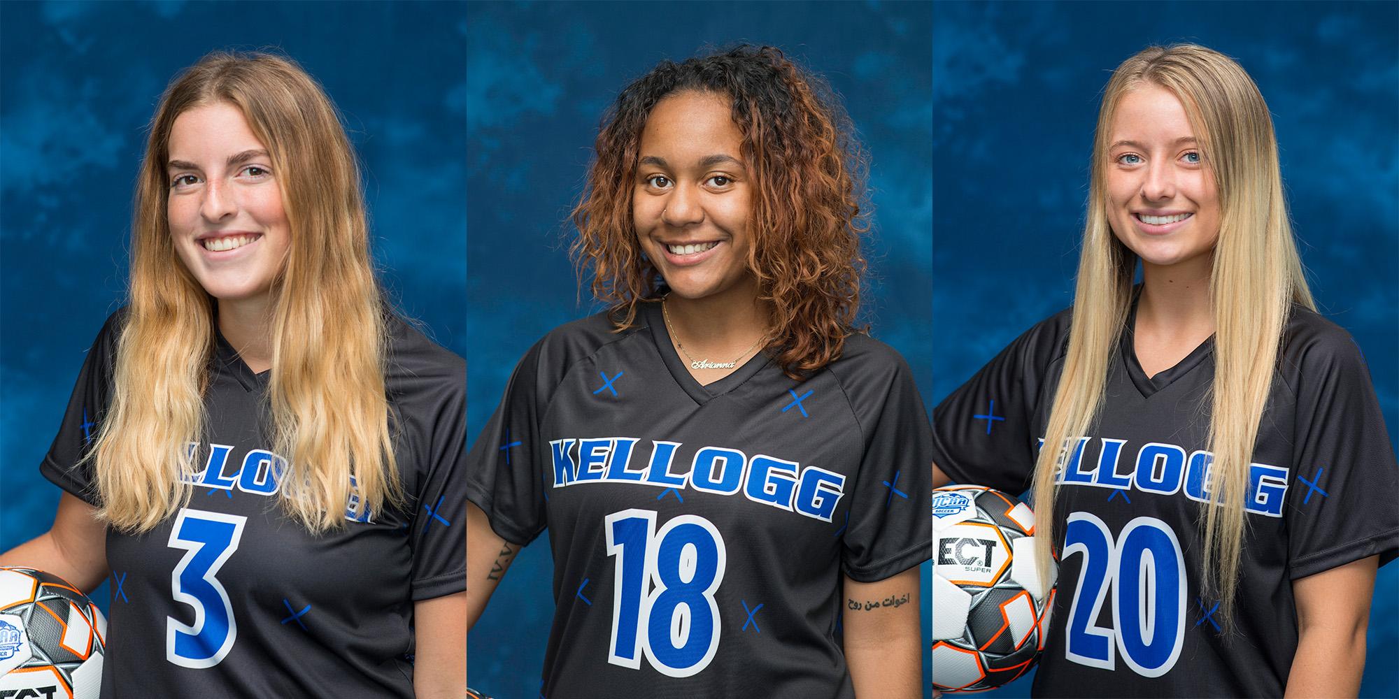 KCC women's soccer players Rachel Bammer, Arianna Cardenas-Jones and Baylee Willis.