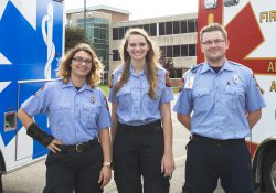 Pictured, from left to right, are KCC Basic EMT Program alumni and current Paramedic Program students Kristen Jaskiw, Abigail Sanger and Josh Turner.