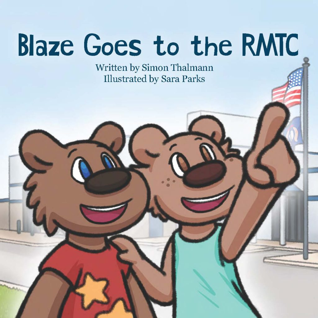 """The cover to """"Blaze Goes to the RMTC"""" featuring the two cartoon bear characters Blaze and Bella."""