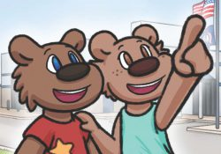 "Detail from the cover to ""Blaze Goes to the RMTC"" featuring the two cartoon bear characters Blaze and Bella."