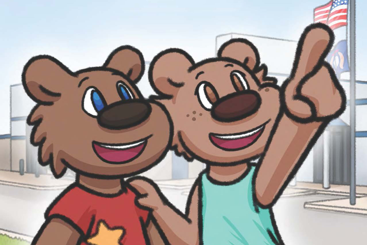 """Detail from the cover to """"Blaze Goes to the RMTC"""" featuring the two cartoon bear characters Blaze and Bella."""