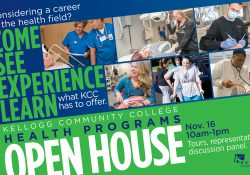 A promotional slide for KCC's Health Programs Open House featuring pictures of students from various KCC health programs.