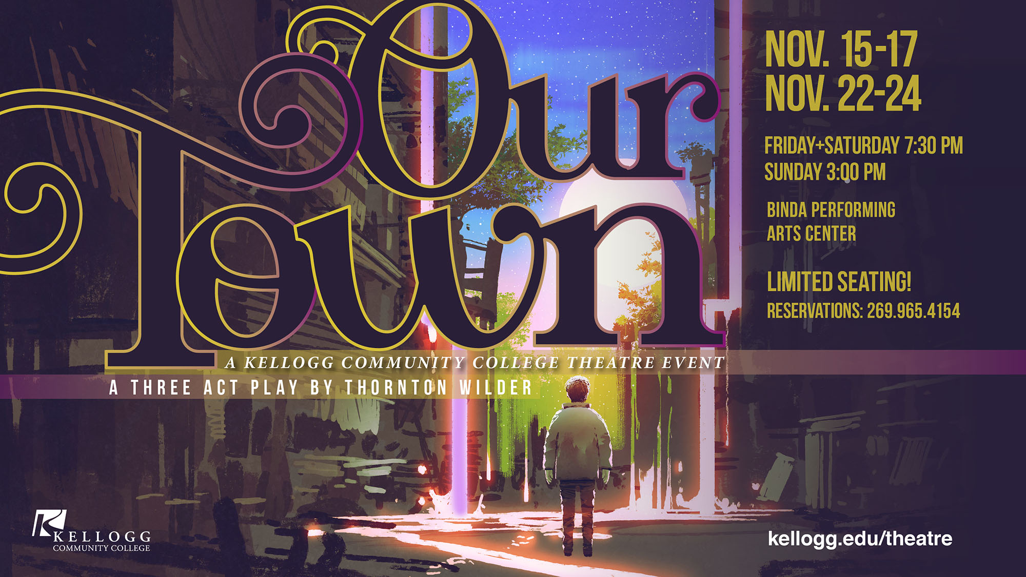"A graphic text slide promoting KCC's upcoming theatre production of ""Our Town,"" which opens at 7:30 p.m. Friday, Nov. 15, at the Binda Performing Arts Center."