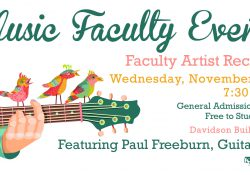 A decorative text slide promoting Paul Freeburn's upcoming recital at KCC, with an illustration of a guitar and birds on it.