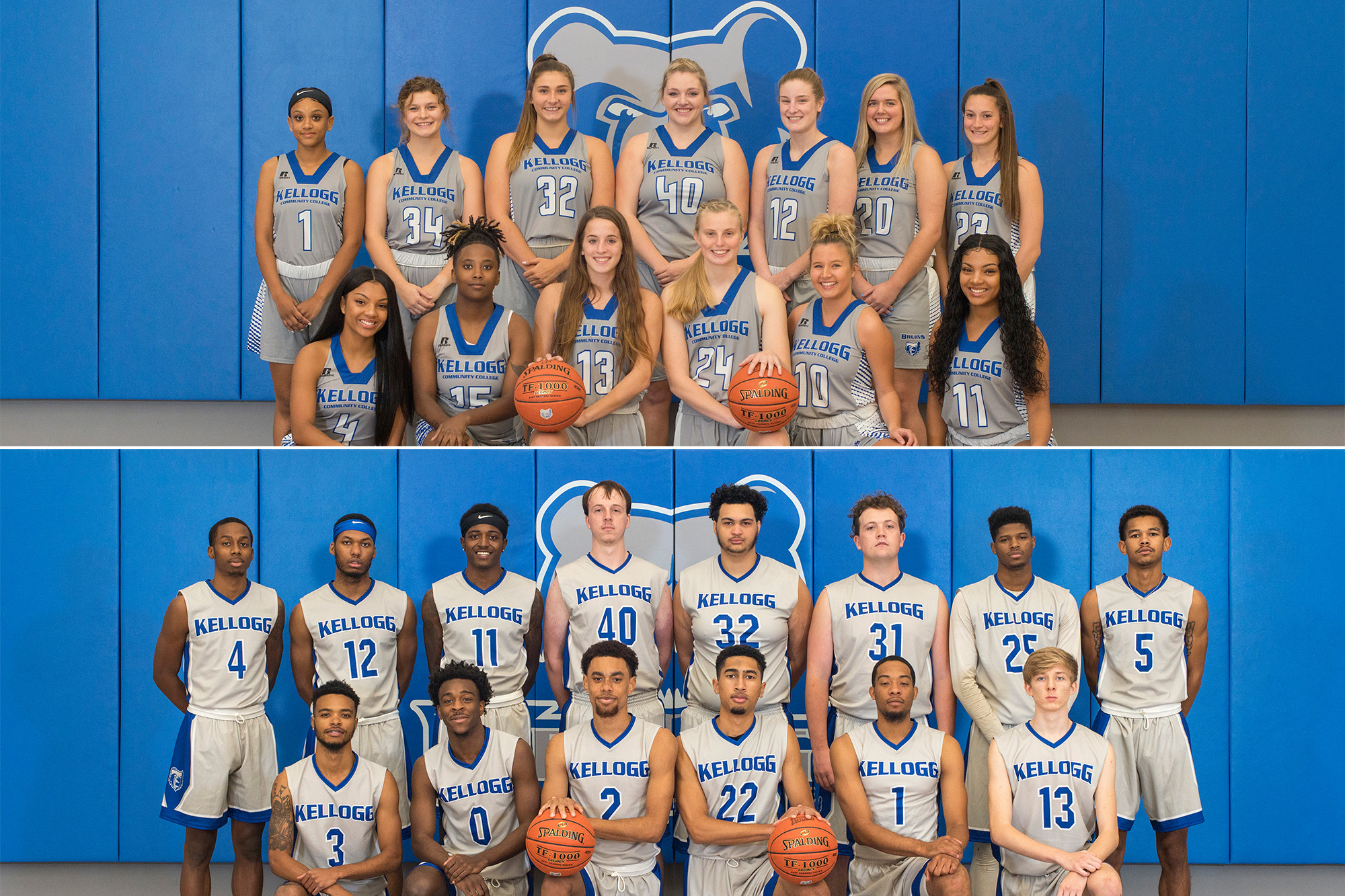 Team photos of KCC's 2019-20 men's and women's basketball teams.