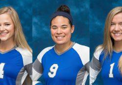 KCC volleyball players Grace Hall, Madison Jones and Haidyn Markos.