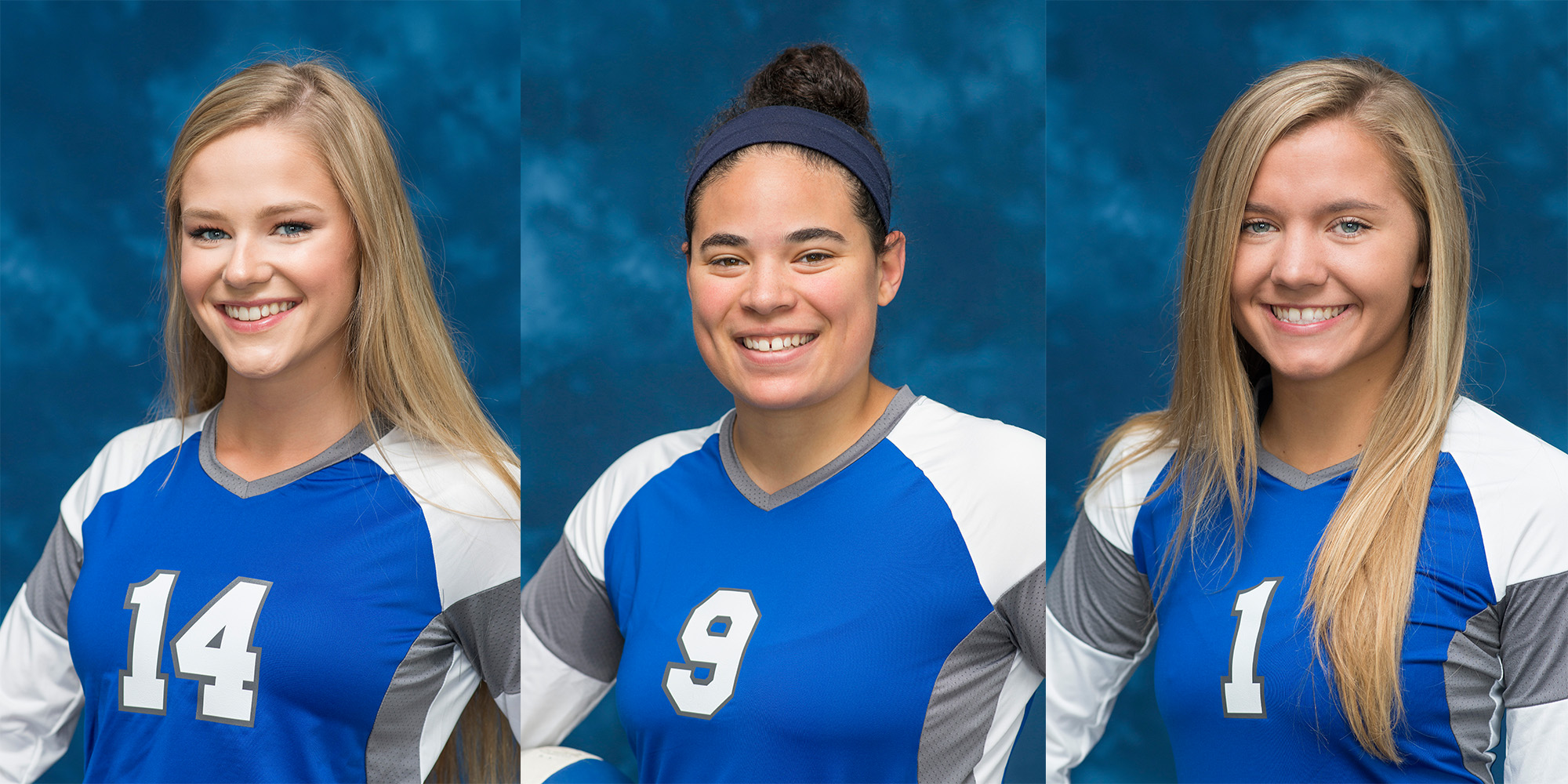 KCC volleyball players Grace Hall, Madison Jones and Haidyn Markos.