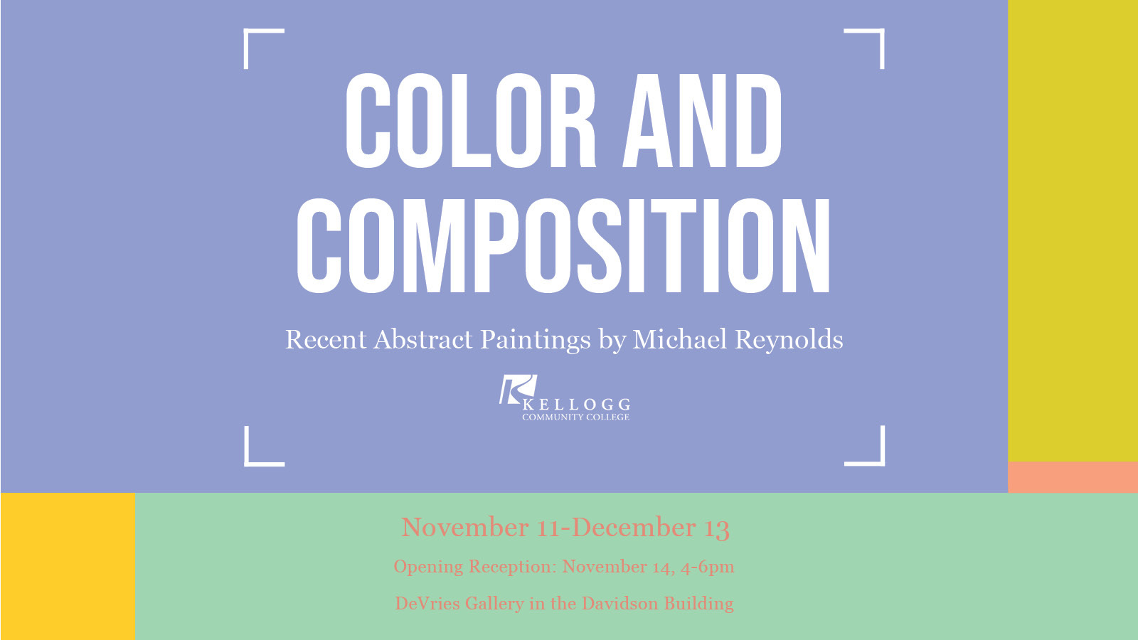A text slide promoting Michael Reynolds exhibit on display in the DeVries Gallery through Dec. 13.