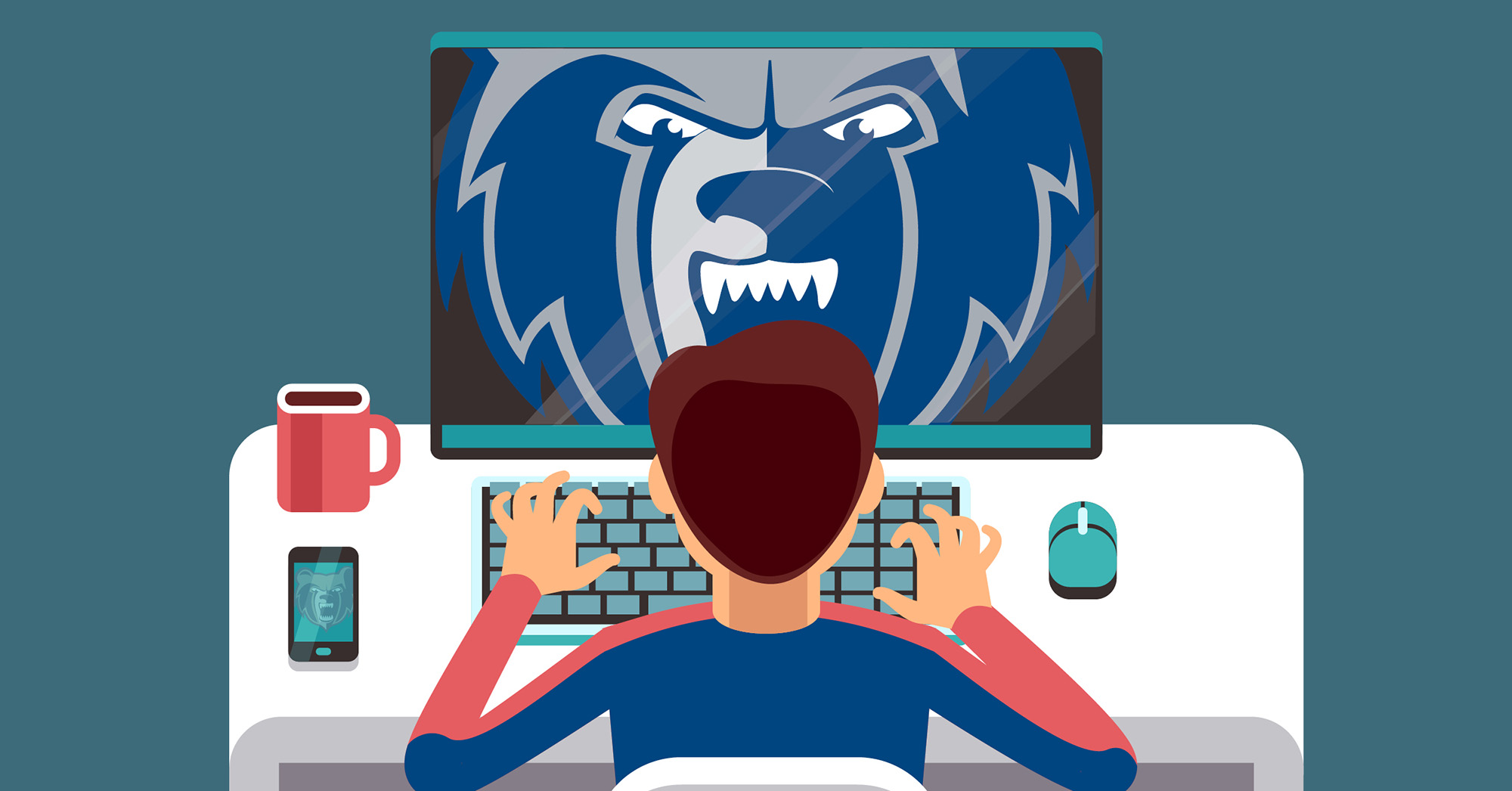Illustration of a student working on a computer with a Bruin logo on the screen.