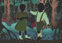 An illustration of two children in the woods.