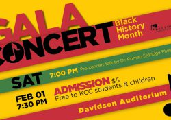 A decorative text slide promoting KCC's Black History Month Gala Concert.