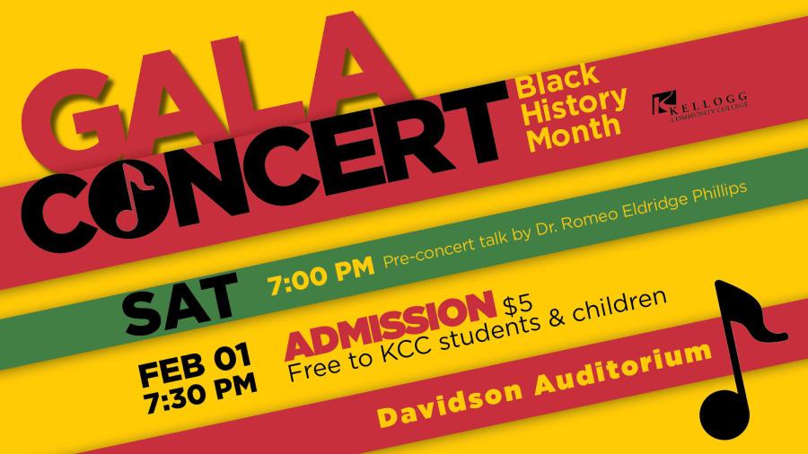 A decorative text slide promoting KCC's Black History Month Gala Concert.