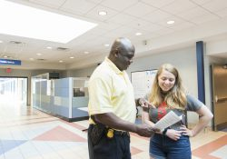 KCC's Chief of Public Safety assists a student.