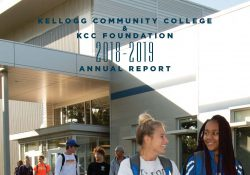 Detail from the cover of KCC's 2018-19 Annual Report showing students walking from the College's Miller Building.