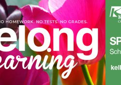 A decorative text slide promoting KCC's Spring 2020 Lifelong Learning schedule.