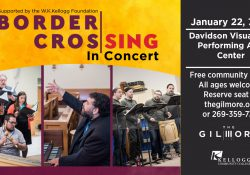 A decorative text slide with information about the Jan. 22 Border CrosSing concert.