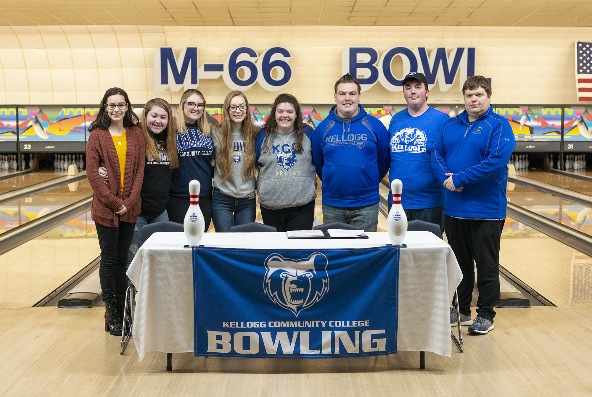 Pictured, from left to right, are KCC bowlers Rachel Erskine, Makayla Skidmore, Steffanie Woodman, Kelsey Kipp, Emma O'Donnell, Jacob O'Donnell and Andrew McKibbin, with Head Coach Brad Morgan.