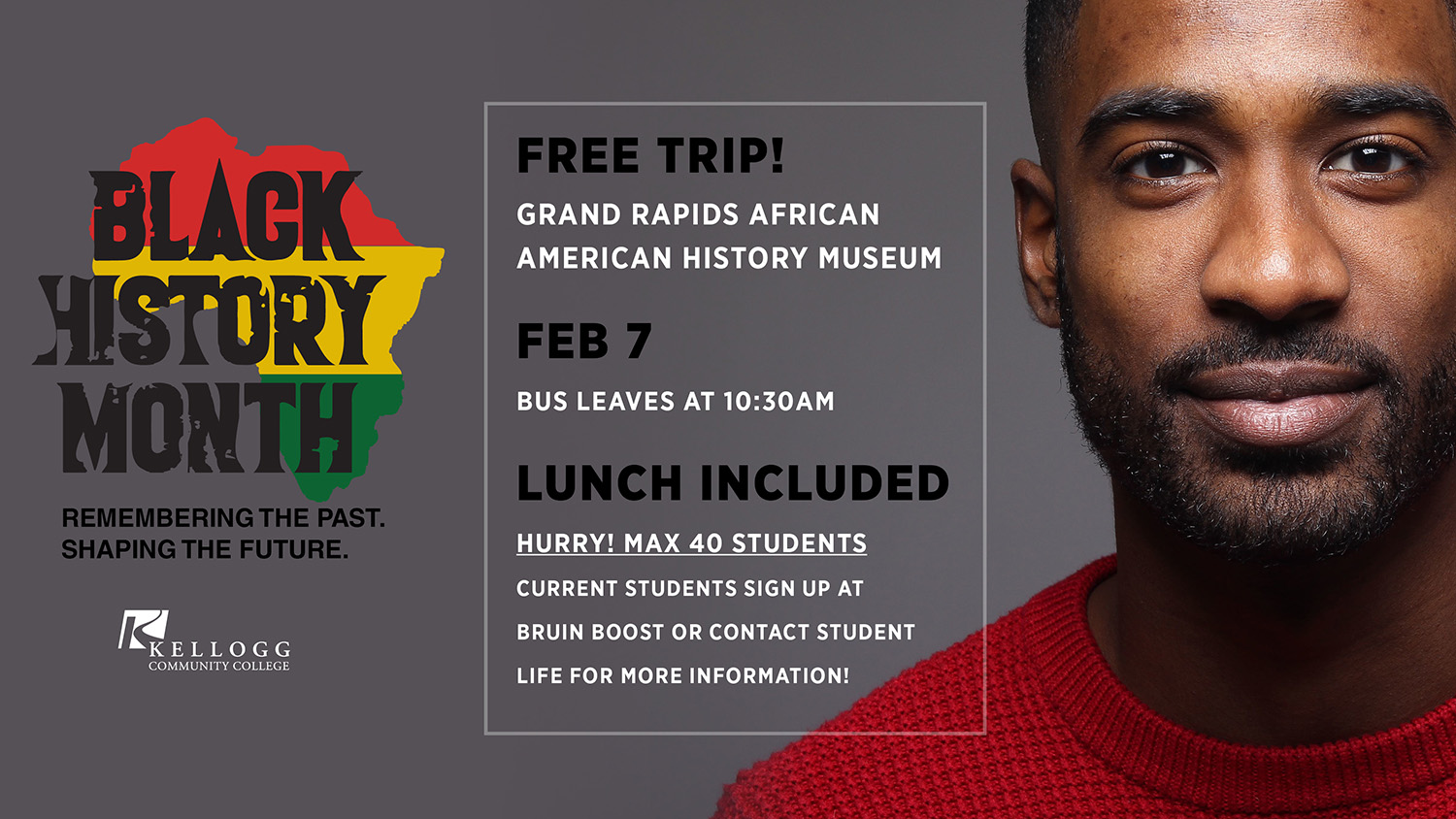A decorative text slide highlighting the Feb. 7, 2020, Black History Month trip.
