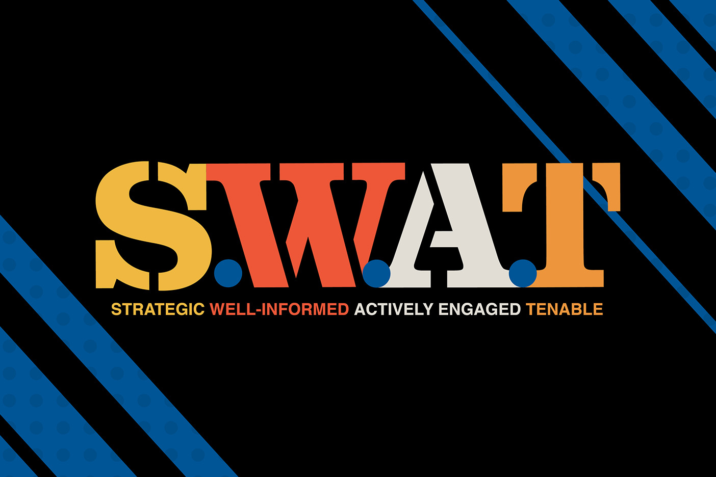 """A text graphic that reads """"S.W.A.T. Strategic. Well-Informed. Actively Engaged. Tenable."""""""