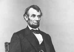 A crop from Anthony Berger's 1864 portrait of Abraham Lincoln.