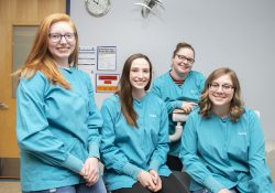 Pictured in KCC's Dental Hygiene Clinic, from left to right, are KCC SADHA presidents Kaitlyn Waltz, Rachel Schellie, Alivea Reyes and Kassandra Cary.