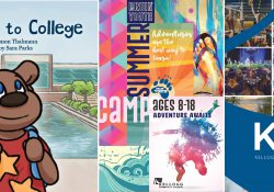 """The covers to KCC's NCMPR-award-winning publications, from left to right, """"Blaze Goes to College,"""" the Bruin Youth schedule and the KCC folder."""