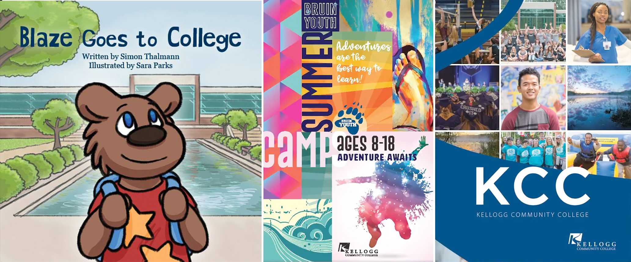 "The covers to KCC's NCMPR-award-winning publications, from left to right, ""Blaze Goes to College,"" the Bruin Youth schedule and the KCC folder."