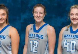 KCC women's basketball players Audrey DeWaters, Jessalynn Genier and Lexi Parsons.