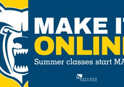 A text slide featuring the Bruin head logo and text reading Make It Online: Summer classes start May 11.