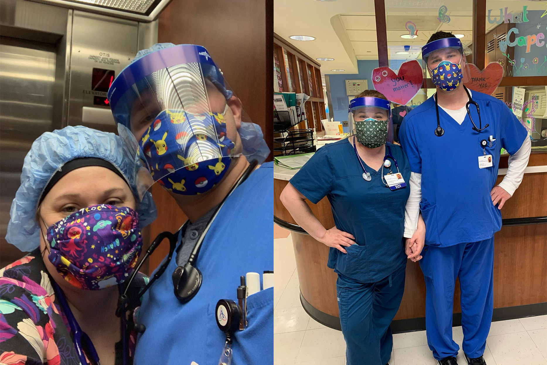 Two photos of Leslie and Elizabeth Stewart posing in nursing scrubs while working at a hospital.
