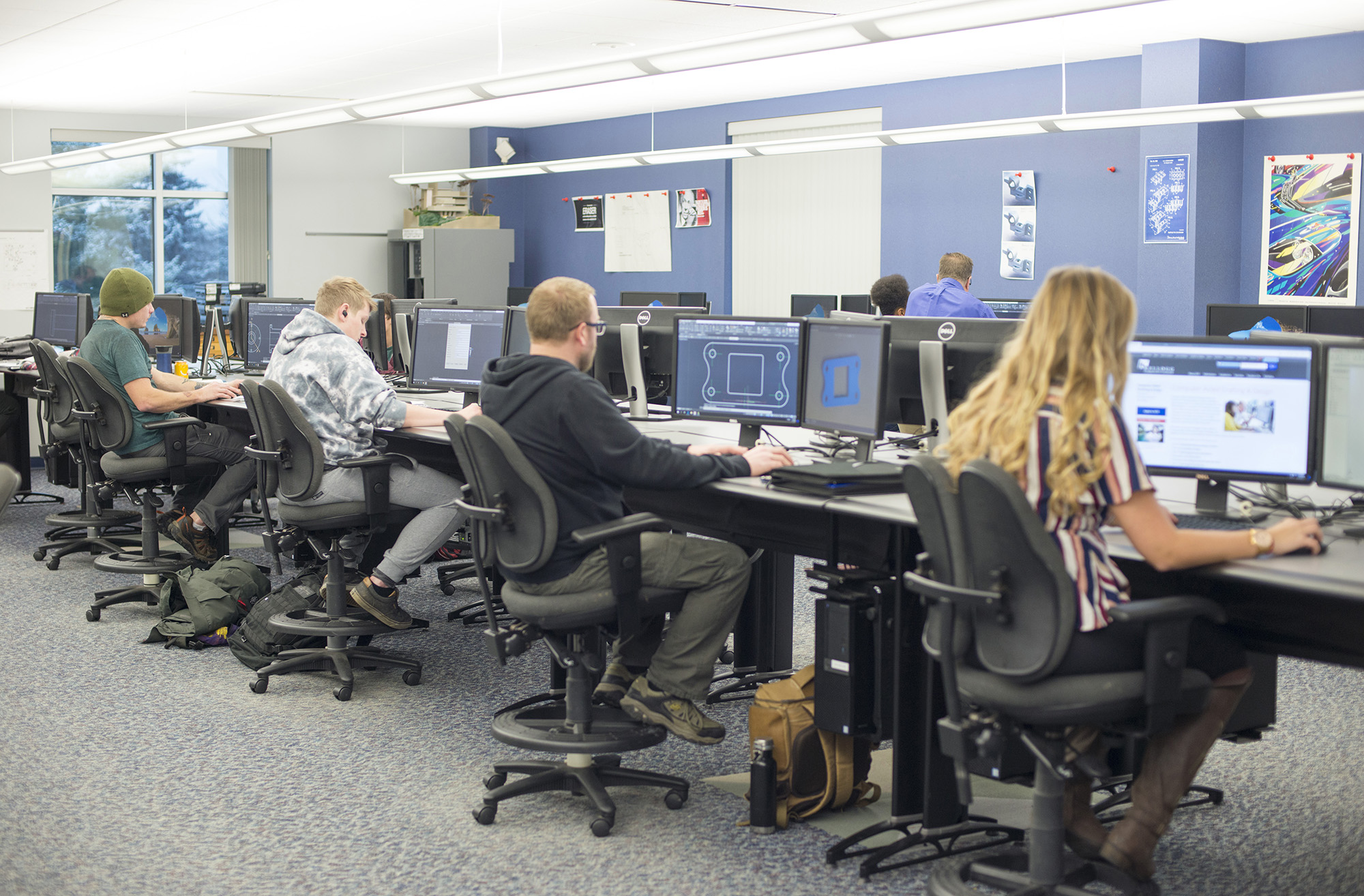 CAD students work on computers in the CAD Lab.