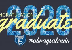"A decorative text slide that reads ""Congratulations 2020 graduates, #alwaysabruin"" and features the Bruin head logo."