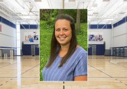 A portrait of Woman's Basketball Coach Kayla Whitmyer over the Miller Gym.