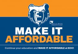 The Bruin head logo and text that reads Make It Affordable: Continue your education and make it affordable at KCC.
