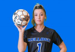 Women's soccer and volleyball player Jackie Mason.