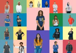 Portraits of students on colorful backgrounds.
