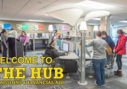 "An image of the KCC Hub with text on it that reads ""Welcome to the Hub Admissions and Financial Aid"""