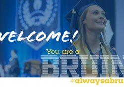 "A decorative slide featuring a graduate in cap and gown and text reading""Welcome! You are a Bruin #alwaysabruin"""
