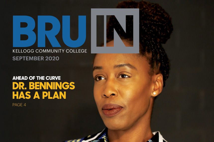 Detail from the cover of the September 2020 edition of BruIN magazine, featuring a portrait of KCC President Dr. Adrien Bennings.
