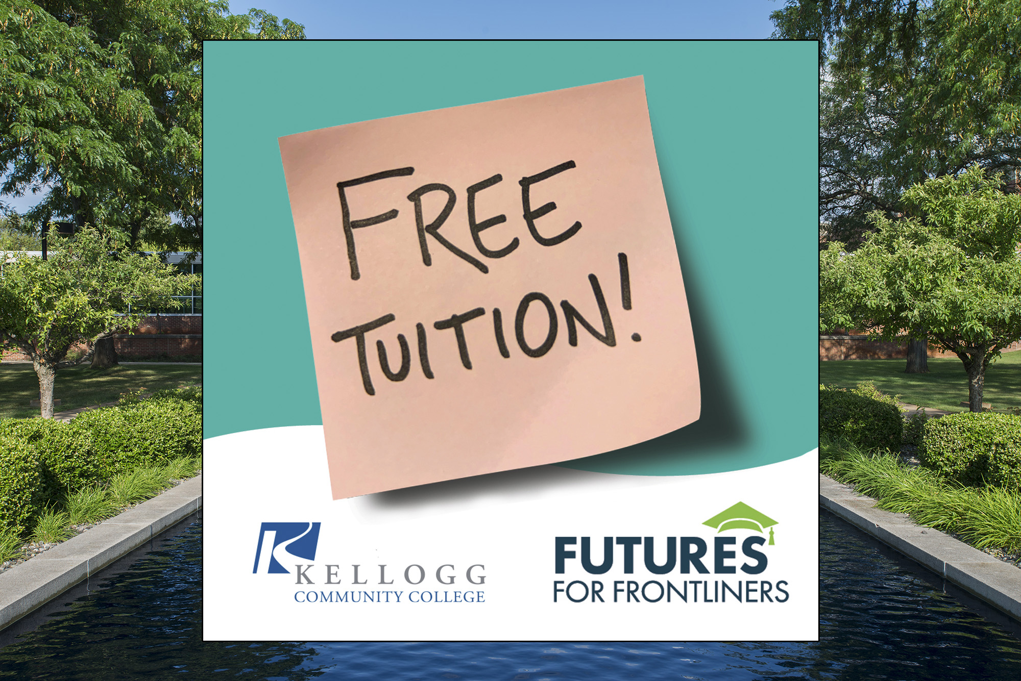 """A decorative image with stylized text on a sticky note that reads """"free tuition."""""""