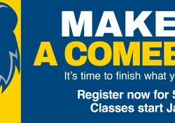 "A text slide with the KCC logo and text that reads ""Make it a comeback. It's time to finish what you started. Registration for spring classes starts Jan. 19."""