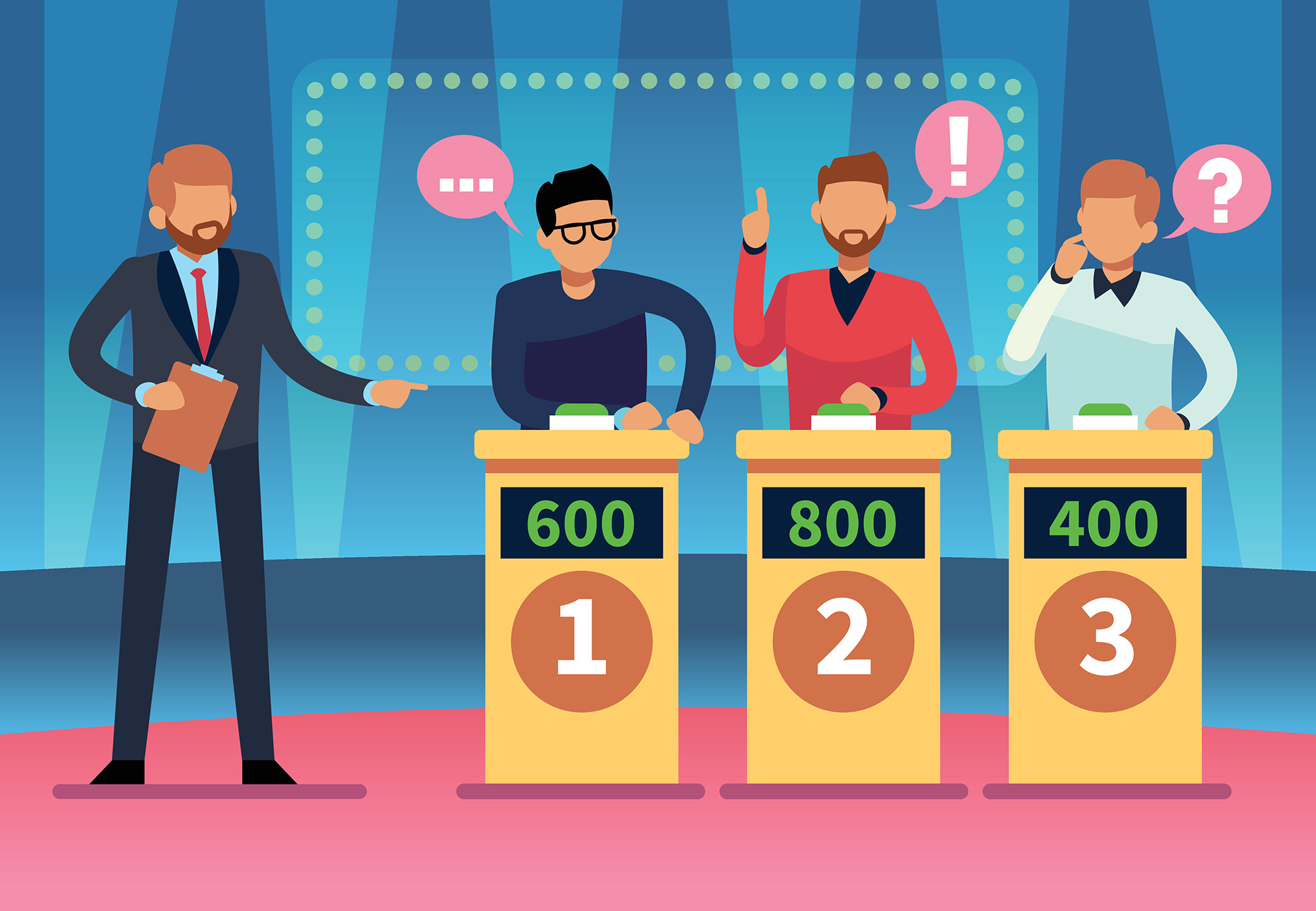 Illustration of a trivia game show host and three contestants.