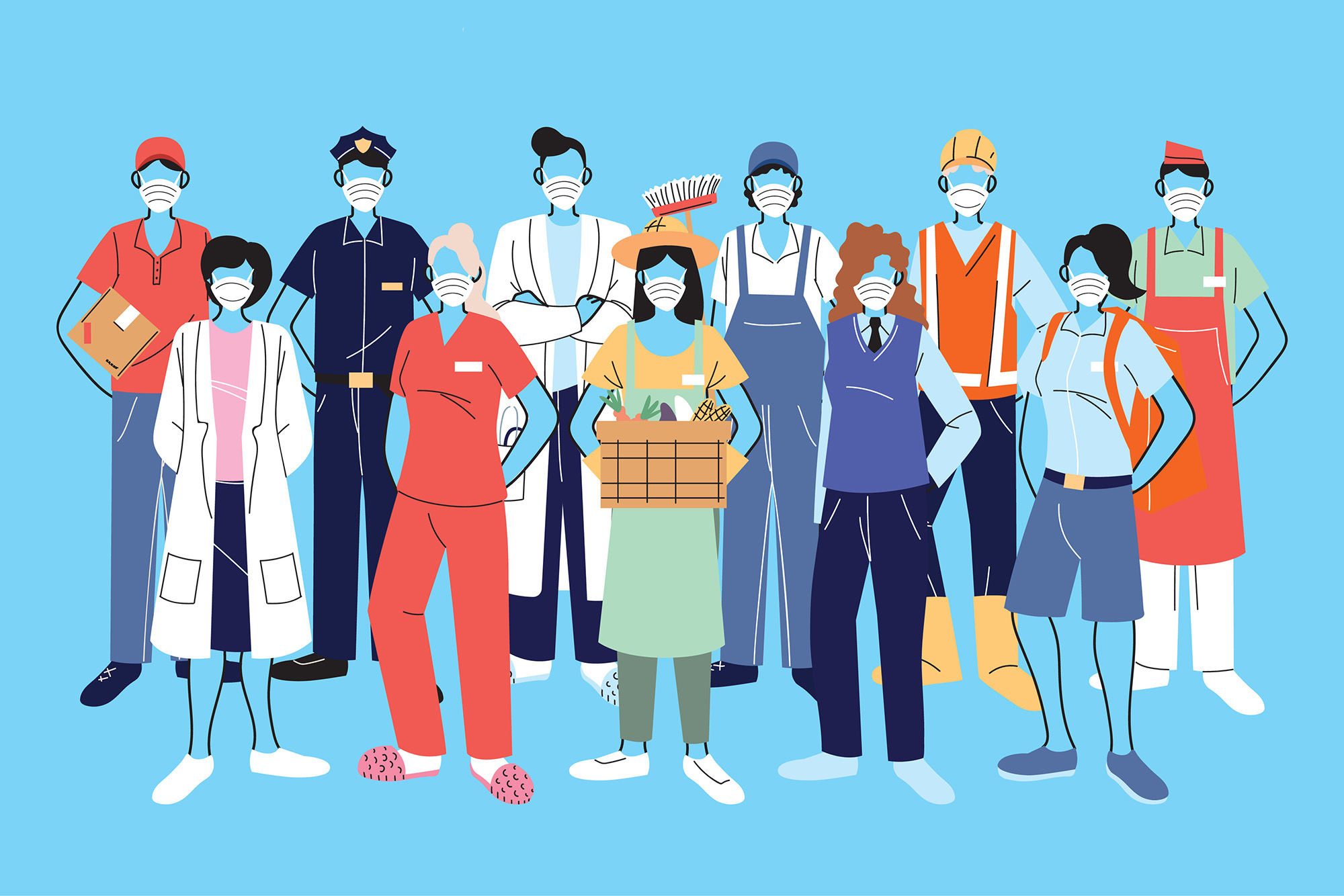 Illustration of essential workers.