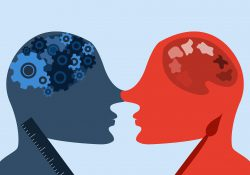 An illustration of two people facing each other, one with gears in their head and a ruler and the other with a paint palette in their head and a paint brush.
